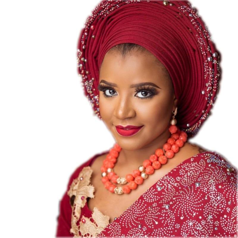 4 ubijoux dames collier ensemble Orange/rouge/blanc Genunie 2 rangées Godki luxe femmes bijoux ensemble pour nigérian livraison gratuite 2019