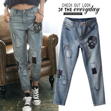 2017 New Skull Pattern Boyfriend Jeans Women PU Stitching Rivet Patchwork Ripped Jeans Femme Vintage Sexy Hip Vaqueros Mujer Oh
