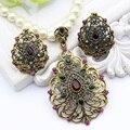 Flor de la vendimia de Imitación de La Perla Conjuntos de Joyas de Oro Antiguo Plateado Collar de Perlas y Pendientes Del Rhinestone Bijoux Joyería De La Boda India