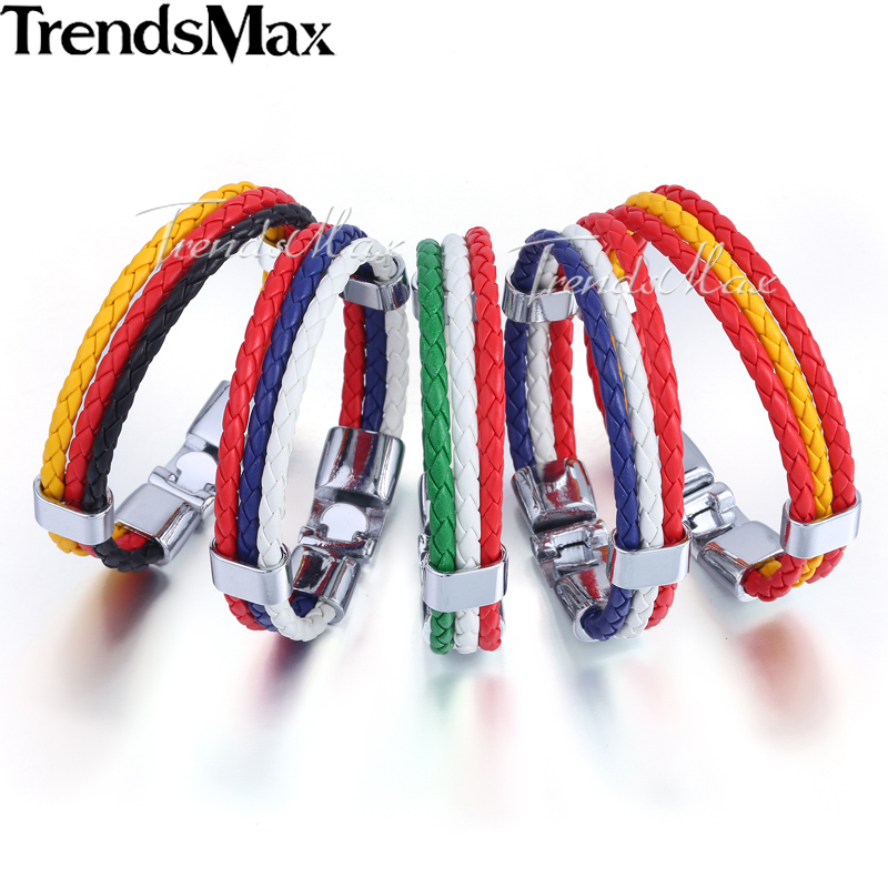 Trendsmax Mens Leather Bracelet 3 Strands National Flag Rope Chain Leather Bracelets For Men 18 Fashion Jewelry Gifts KLBW18 3