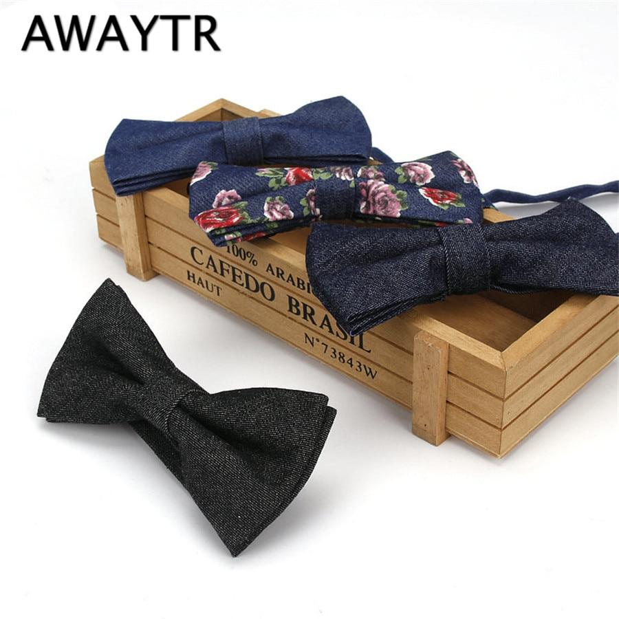 AWAYTR Fashion Flower Handkerchief Bowtie Men's Suits Cotton Vintage Solid Denim Pocket Squares Hanky For Men Hankies Bow Tie