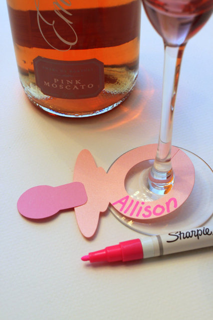 Pink Baby Shower Pacifier Drink Tags Wine Glass Charms markers ...