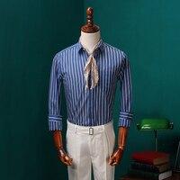 2017 Summer Cotton Shirt Men Embroidery Pattern Elasticity Suit Shirts Slim Black Short Sleeved Shirt CBCS001