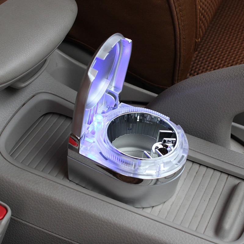 Durable Portable Auto Car Ashtray Vehicle Ceniceros Smokeless Cigarette Smoke Ash Holder Tray With LED Light Lamp Carro Cinzeiro