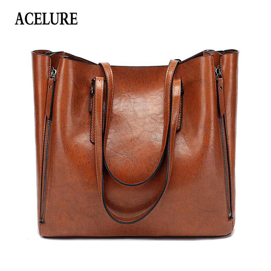 ACELURE Famous Brand Handbag Women PU Leather Shoulder Bag Casual Large Capacity Top-Handle Bucket Bag Simple Style Solid Totes
