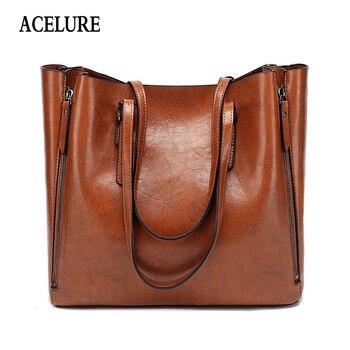 ACELURE Famous Brand Handbag Women PU Leather Shoulder Bag Casual Large Capacity Top-Handle Bucket Bag Simple Style Solid Totes shoulder bag