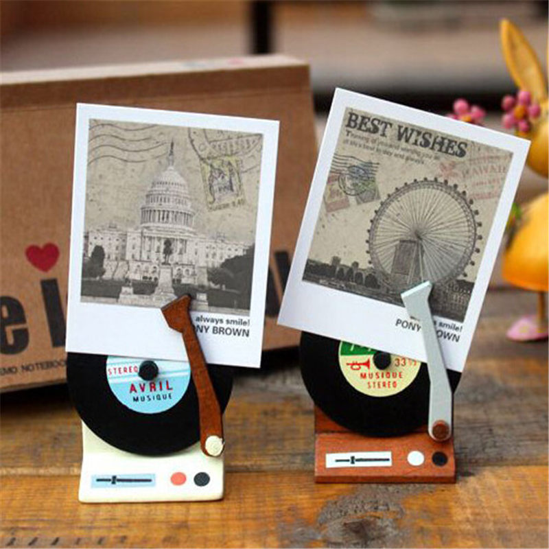 Coloffice Retro Cute Phonograph Wooden Memo Card Holder Paper Clips For Message Decoration Photo Clip Office School Supplies 1PC