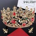Europea Retro Chapado En Oro Vetiver Iris Quinceanera Del Desfile de Tiaras Corona Pelo de la Boda Red Rhinestones Nupcial de La Perla