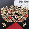 European Retro Gold Plated Vetiver Irises Wedding Hair Crown Red Rhinestones Pearl Bridal Quinceanera Pageant Tiaras