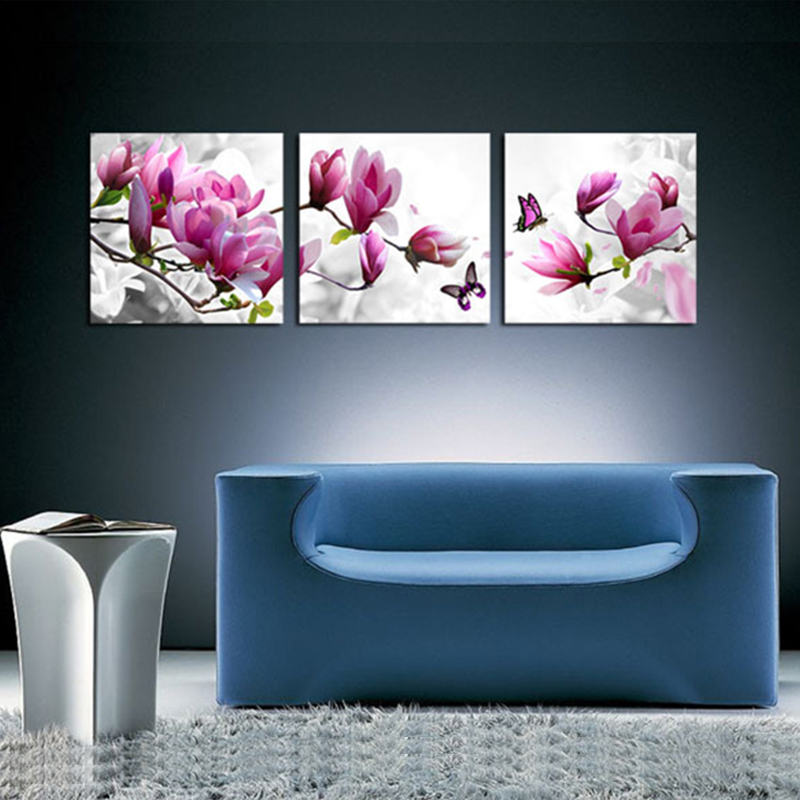 Modern Art Flower Canvas Painting Three Picture Combination Posters And Prints Wall Pictures For Living Room In Calligraphy From