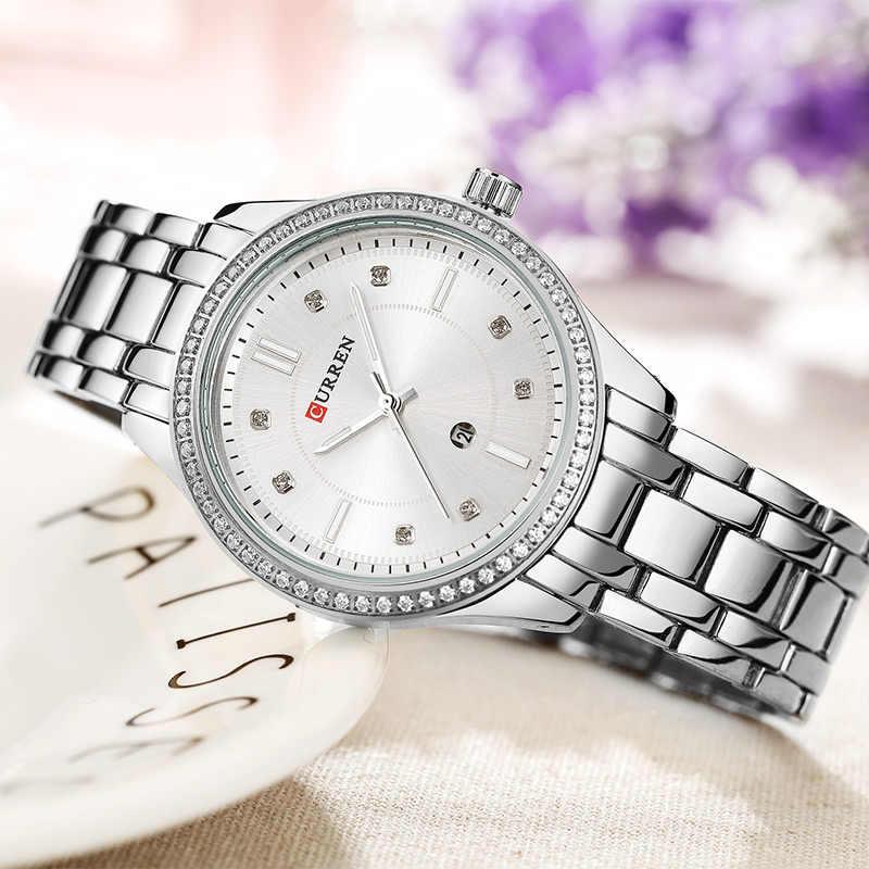 カレン女性腕時計トップブランド高級ブルーダイヤルスチールバンドゴールド腕時計女性ブレスレット腕時計レディースクォーツ時計レロジオfeminino