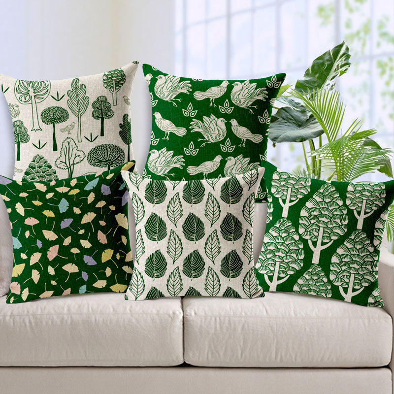 Green And Beige Cotton Linen Pillowcases Cushion Cover