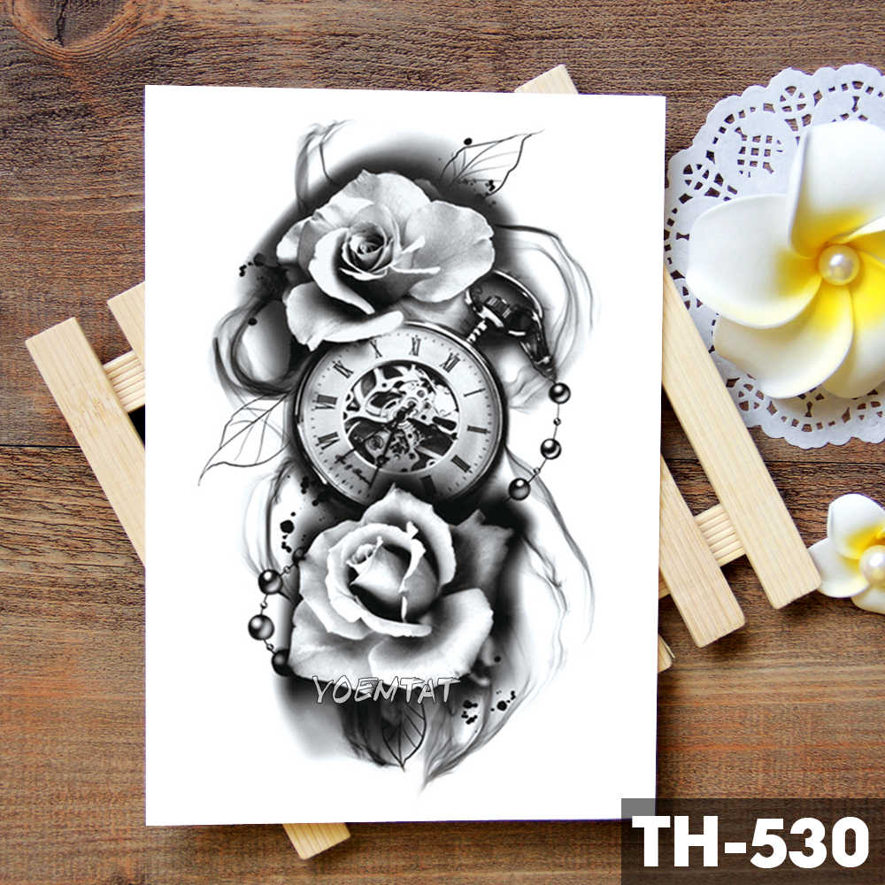 517e31a91 ... Family Rose Time clock Skull Temporary Tattoo Sticker Scorpion Tower  Waterproof Tattoos Body Art Arm Fake ...