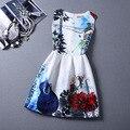 Marca primavera verão princesa plus size mulheres impressão colete floral dress mangas uma linha de vestidos de festa da moda vestido de festa