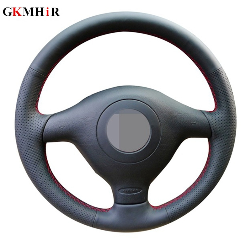 Artificial Leather Black Steering Wheel Cover for Volkswagen VW Golf 4 Passat B5 1996-2003 Seat Leon 1999-2004 Polo 1999-2002 image