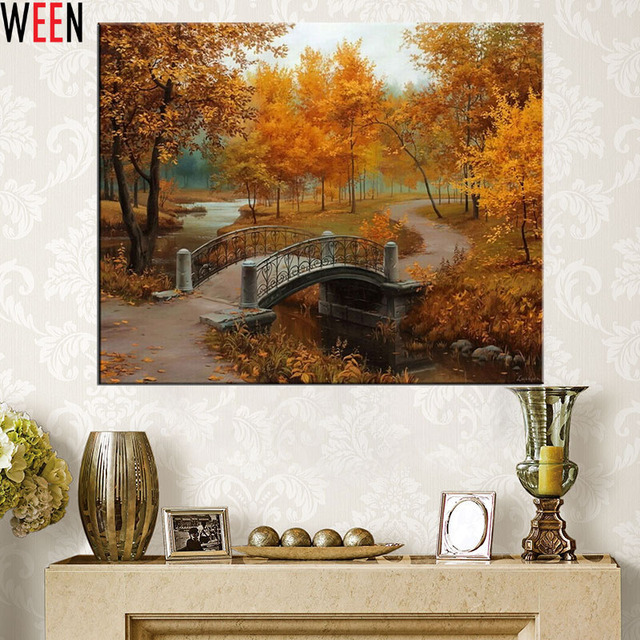 Pictures Oil Painting By Numbers DIY Digital Coloring By Numver on Canvas Maple Scenery Home Decoration 40x50cm
