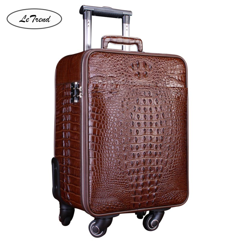 LeTrend 100 Alligator Rolling Luggage Spinner Crocodile High grade luxury Genuine Leather Trolley 18 inch Cabin