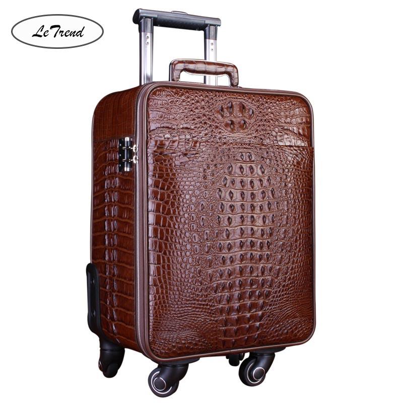 LeTrend 100% timsah haddeleme bagaj Spinner timsah yüksek sınıf lüks hakiki deri arabası 18 inç kabin bavul tekerlekleri