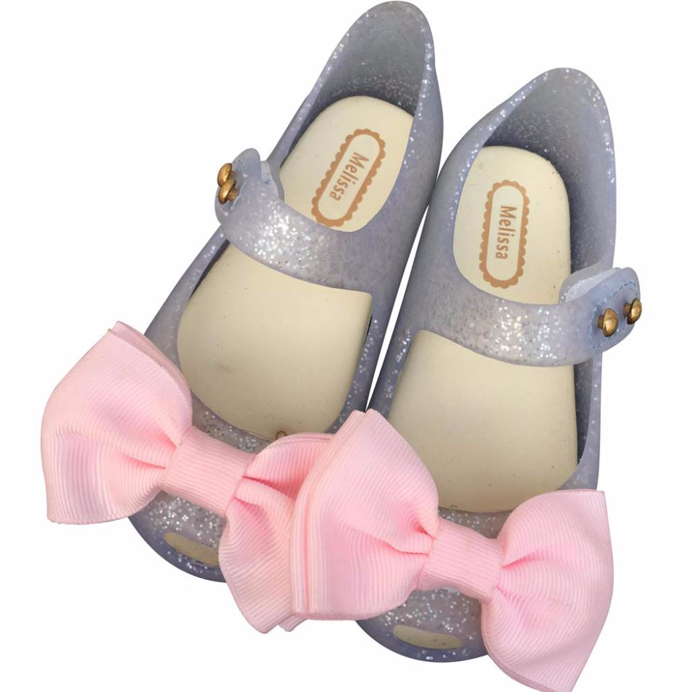 Melissa 2 Layer Cloth Bow For Girls Mini Shoes Summer Rain Shoe 2018 New Girls Low-Top Sandal Nonslip Kids Sandals Soft