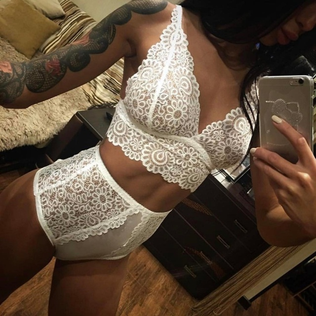Women See-through Intimate Lingerie Bralette  Panty Lace Set  1