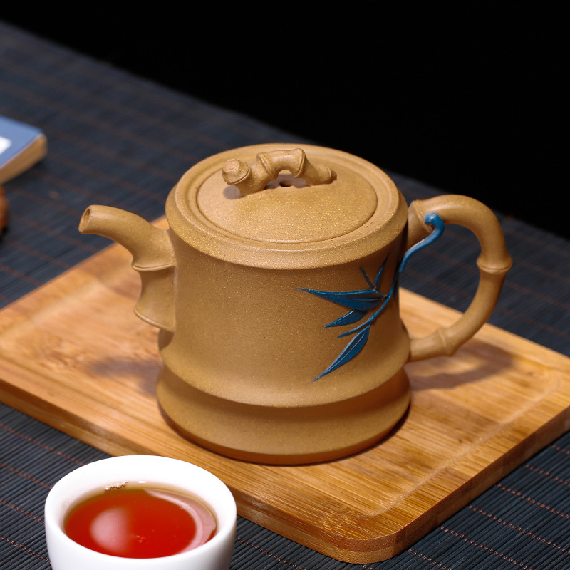 Teaware Section Mud Dual-color Bamboo Pot All Hand-made Mud Painting Pot Decoration Can Customize One Substitute HairTeaware Section Mud Dual-color Bamboo Pot All Hand-made Mud Painting Pot Decoration Can Customize One Substitute Hair