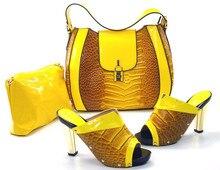 Neue Mode Italienische Schuhe mit Passenden taschen Für Party afrikanischen Schuhe und Taschen für Hochzeit schuh und tasche set TH16-22 GELB