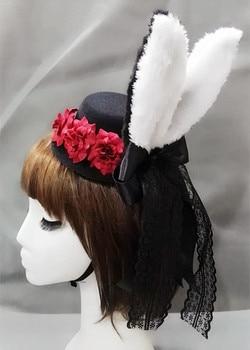 Lolita Women Plush Fluffy Bunny Rabbit Ears Mini Top Hat Costume Rose Flower Lace Accessory Halloween Dress Up