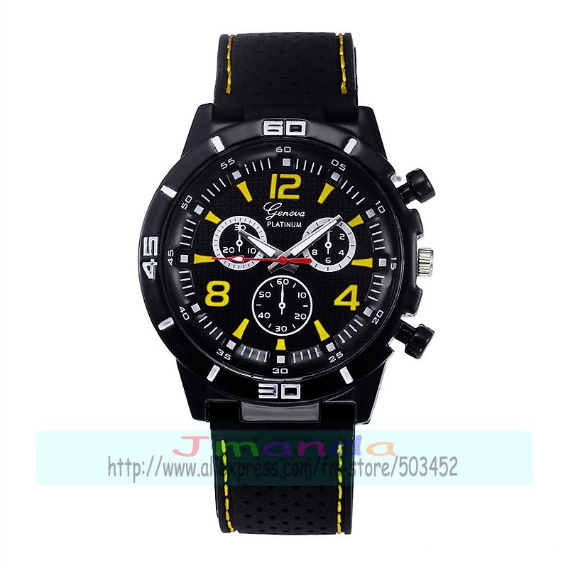 100pcs Lot Geneva Brand Silicone Racing Watch Wrap Quartz Casual Men Sport