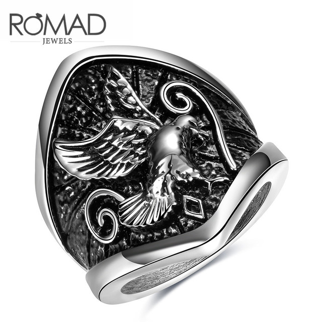 High-grade Jewelry Wholesale Stainless Steel  Ring and America Sell Well Punk Wind Mirs Wings Baking Paint Steel Ring NotFade