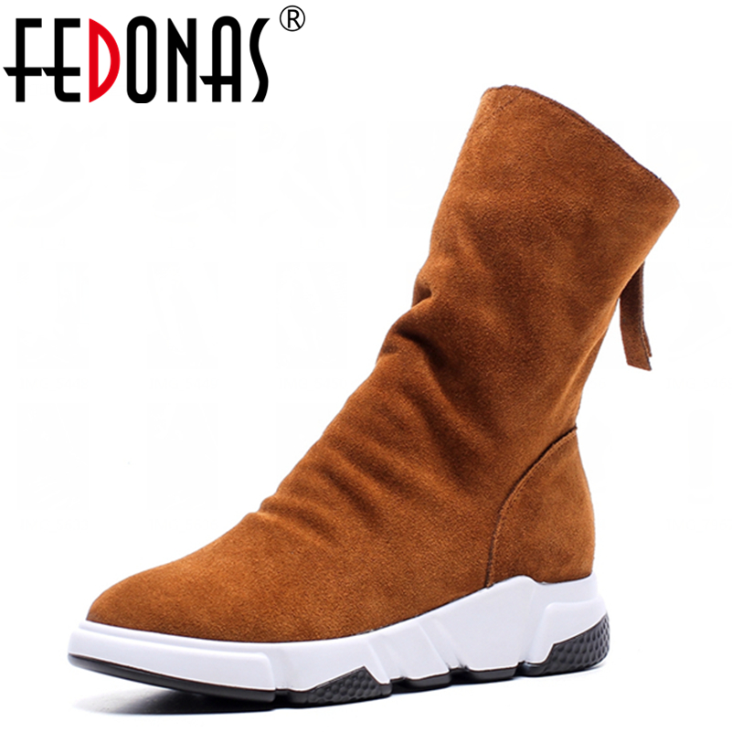 FEDONAS Top Quality Fashion Mid-calf Boot Suede Genuine Leather Women Wedges Heels Boots Zipper Winter Snow Boots Shoes Woman double buckle cross straps mid calf boots