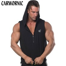 CARWORNIC Fitness Bodybuilding Hoodie Men Cotton Sleeveless Fashion Muscle Hoodies Clothes Workout Casual Plus Size