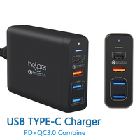 USB Type C PD Charger 75W 4 Ports USB C PD Quick Charge 3 0 Smart