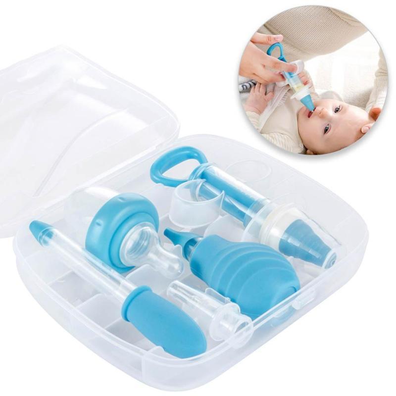 Safe baby Grooming Healthcare Kits 4pcs/set infant newborn Health Care Set medicine feeder Nasal Aspirator Ear Syringe set D2