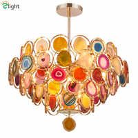 Art Deco Agate Led E14 Pendant Light Plate Metal Pipe Pendant Lamp Indoor Lighting Fixtures Lamparas Lustre Luminarie Led Lamp