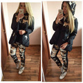 winter jackets down coat for women Camouflage wadded jacket +trousers 2 pcs set  cotton-padded jacket
