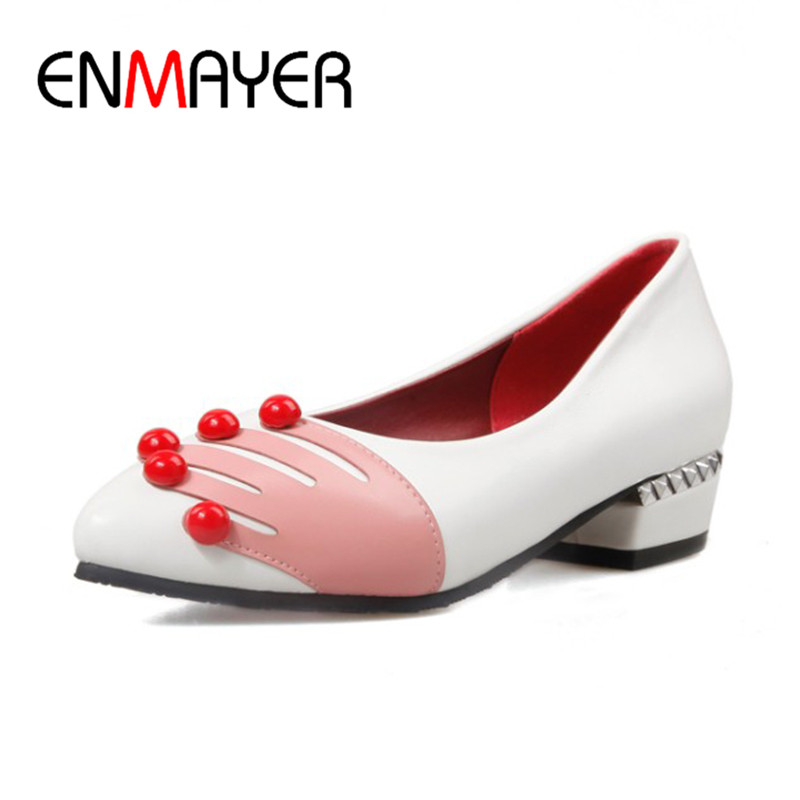ENMAYER Spring Autumn Women Fashion Casual Pumps Shoes Beading Pointed Toe Slip-On Square Heel Large Size 34-47 Beige Black Red enmayer spring autumn women fashion wedding pumps shoes rhinestone beading pointed toe slip on thin heels large size 34 43 white