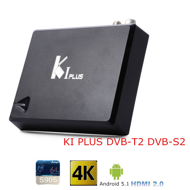 KI PLUS S905 DVB S2 DVB-T2 TV Box Amlogic Quad core 64-bit Soporte DVB-T2 DVB-S2 1G/8G 1080 p 4 K Android 5.1 TV Box Set-Top caja
