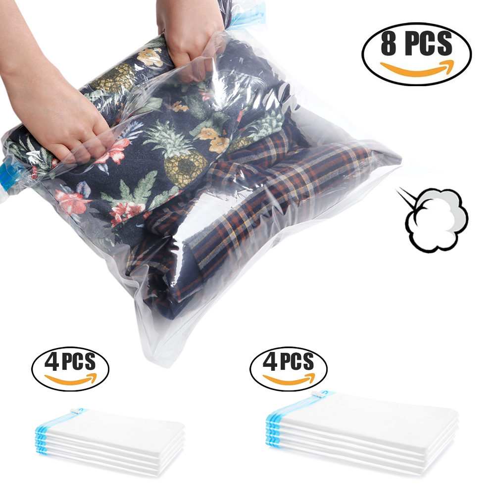 Cozzine Travel Roll Up Compression Storage Bags 8 Suitcase Set Hand Rolling Compressed Bag Vacuum Clothes Seal In Foldable