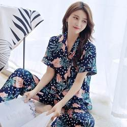 Ночная рубашка с принтом женские шелковые атласные пижамные комплекты с длинным рукавом Длинные штаны пижамы