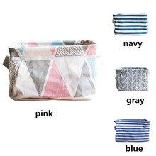 Fabric Storage Basket Stripe geometry Printed Large Desktop Washing Basket Dirty Clothes Sundries Home Storage Baskets Box EY11