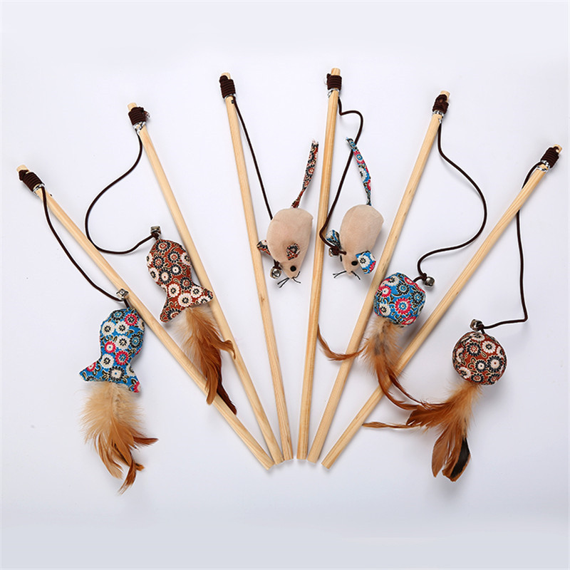 Pet Cat Catnip Natural Wooden Cat Toy With Bell Cat Teaser Rod Bar Wooden Protecting Furniture Grinding Claws