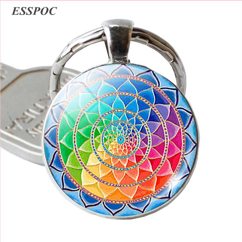 Fashion Sri Yantra Mandala Pattern Glass Jewelry Dome Keychain Buddhist  Pendant Silver Key Chain Handmade Women Indian Gift