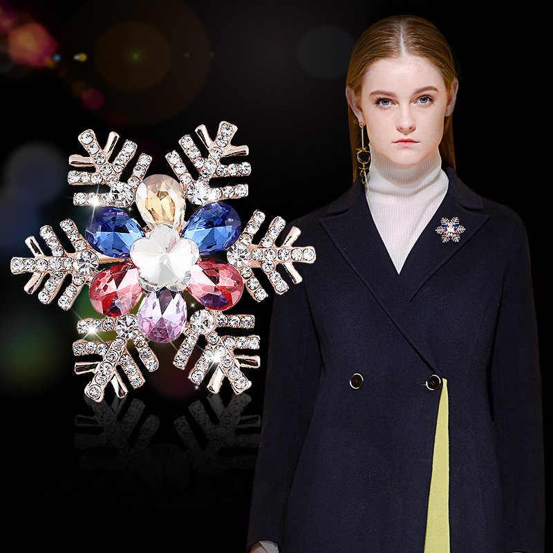 Rhao Multi Warna Kepingan Salju Bros untuk Wanita dan Pria Pakaian Perhiasan Hadiah Natal Setelan Korsase Syal Gesper Pin