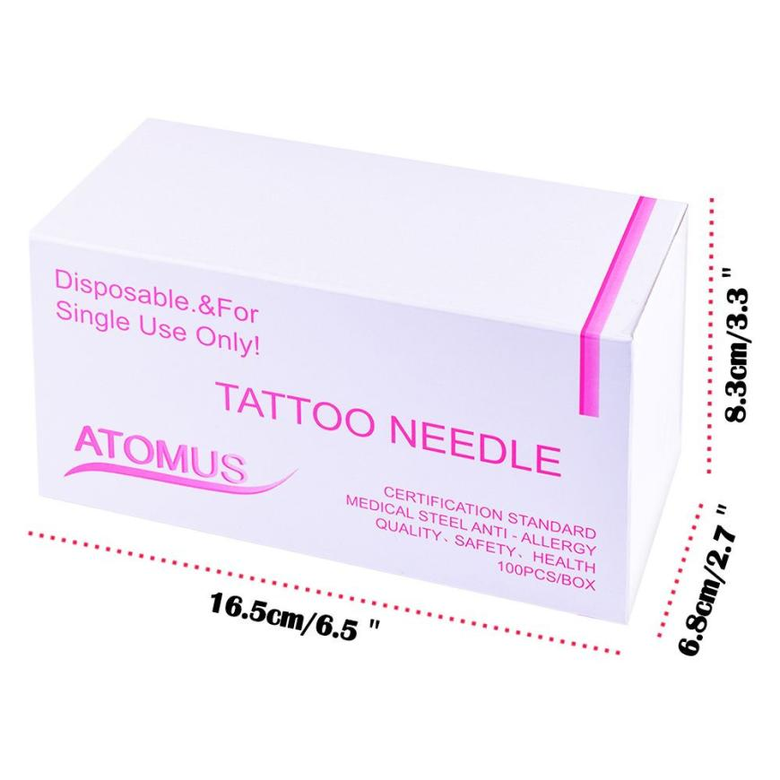 ATOMUS 100Pcs/Box Safety Disposable Mixed Tattoo Needles Qualified Medical steel anti-allergy Tattoo Accessories 5U915
