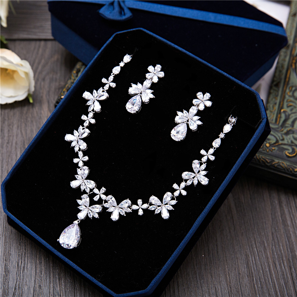 Elegante Cubic Zirconia Wedding Jewelry Sets Women Flower Necklace Pendant Earrings Banquet Jewellery Charm Bridal Accessories premium pu leather case for ipad 2 3 4 360 full protection smart stand auto sleep