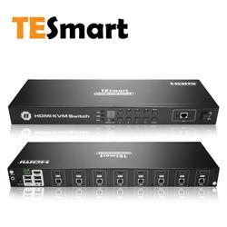 TESmart HDMI KVM переключатель 8 портов поддержка 3840*2160/4 K 2 шт стойки стандарт 1U управление 8 ПК Компютер сервера один видео монитор