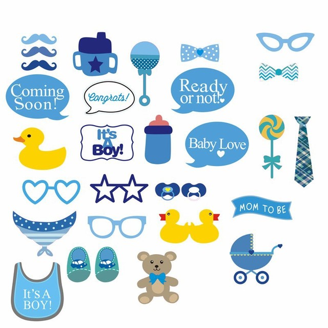 Boy Girl Photo Booth Props 30 Pcs Set Baby Shower Decoration Little