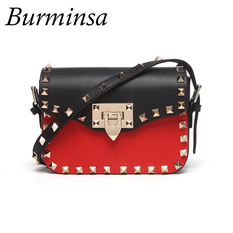 Burminsa Brand Genuine Leather Bags Mini Rivet Shoulder Messenger Bags Designer Handbags High Quality Crossbody Bags For Women