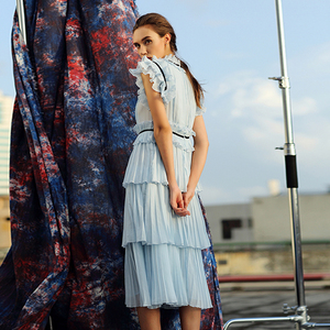 Image 4 - Robe dété élégante, à plis de luxe, sans manches, à paillettes, robe de styliste, bleu, nouvelle collection tenue décontractée