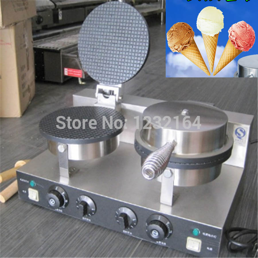 Electric Non-stick double Head ice cream waffle cone baker/waffle cake Ice Cream Cone Maker /CONE SHAPE WAFFLE BAKER  EU US plug directly factory price commercial electric double head egg waffle maker for round waffle and rectangle waffle